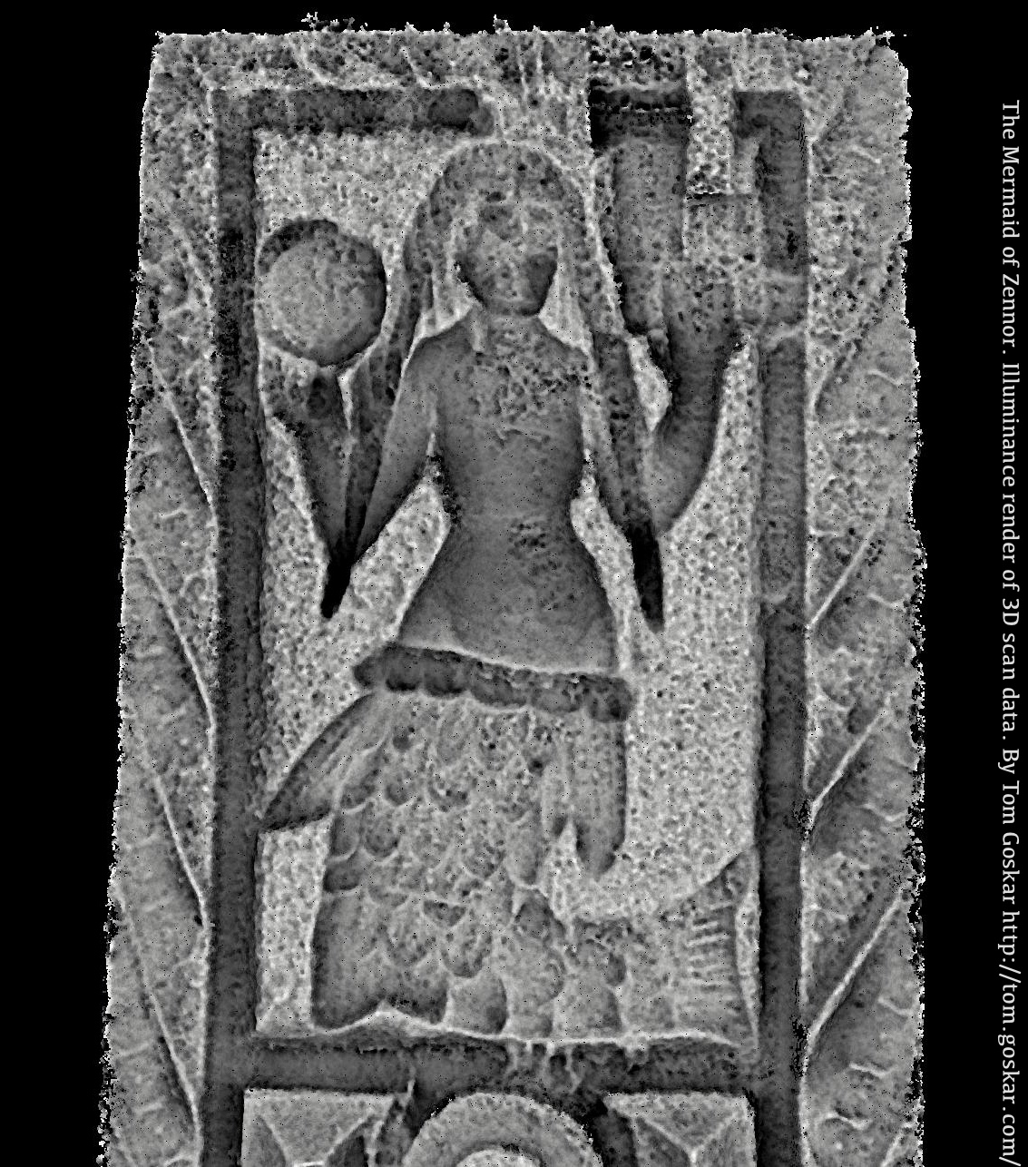 Illuminance (occlusion) render of the low-resolution 3D model of the Mermaid of Zennor