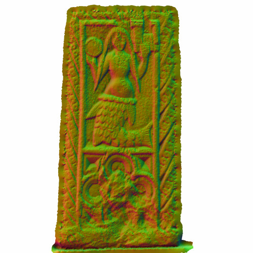 Render of the 3D model of the Mermaid of Zennor, using a directional material.