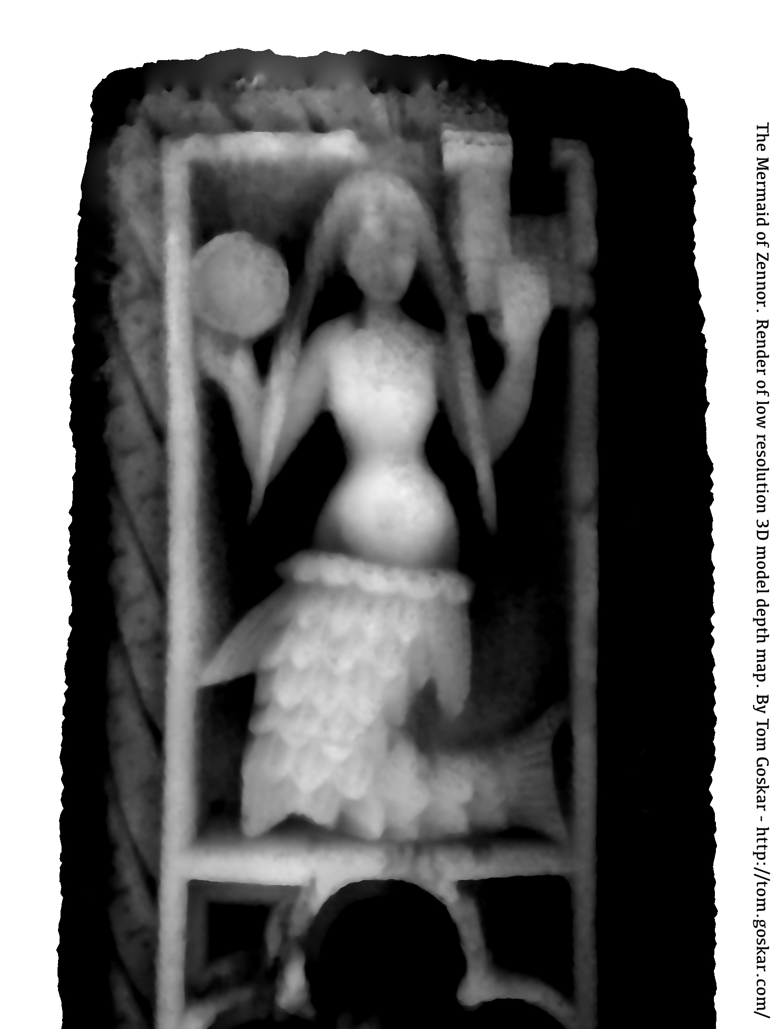 Depth map of the low-resolution 3D model of the Mermaid of Zennor