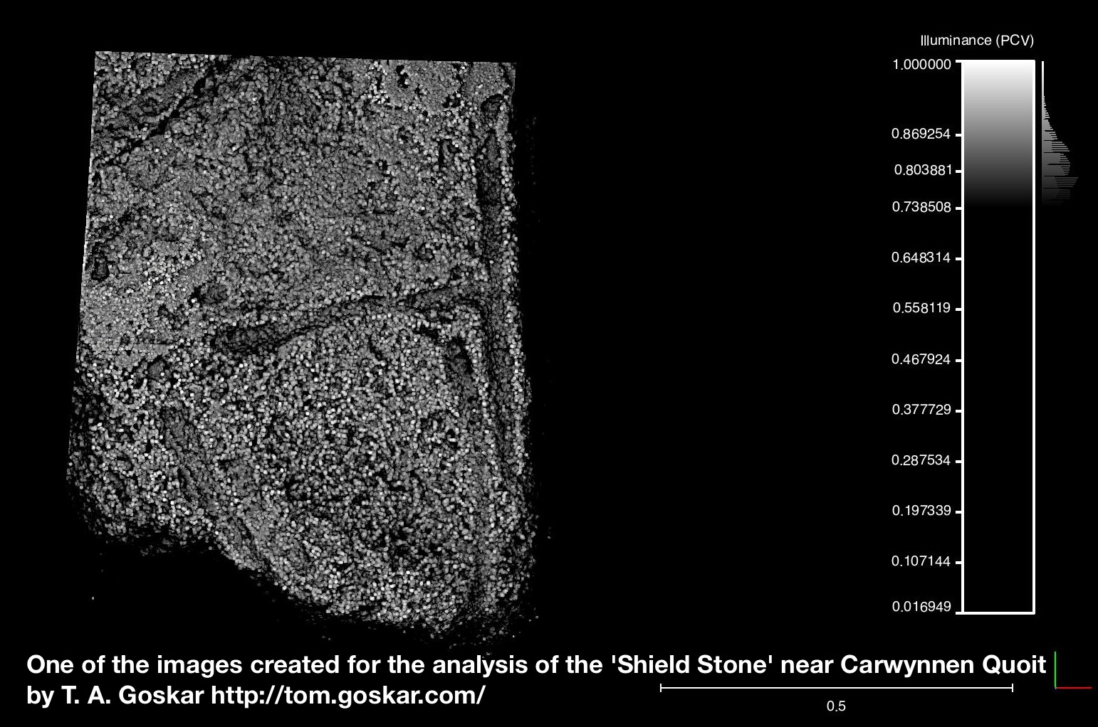 One of the images created for the analysis of the 'Coffin Stone' close to Carwynnen Quoit