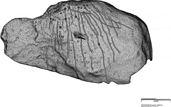 Plan of cup marks on Hendraburnick propped stone